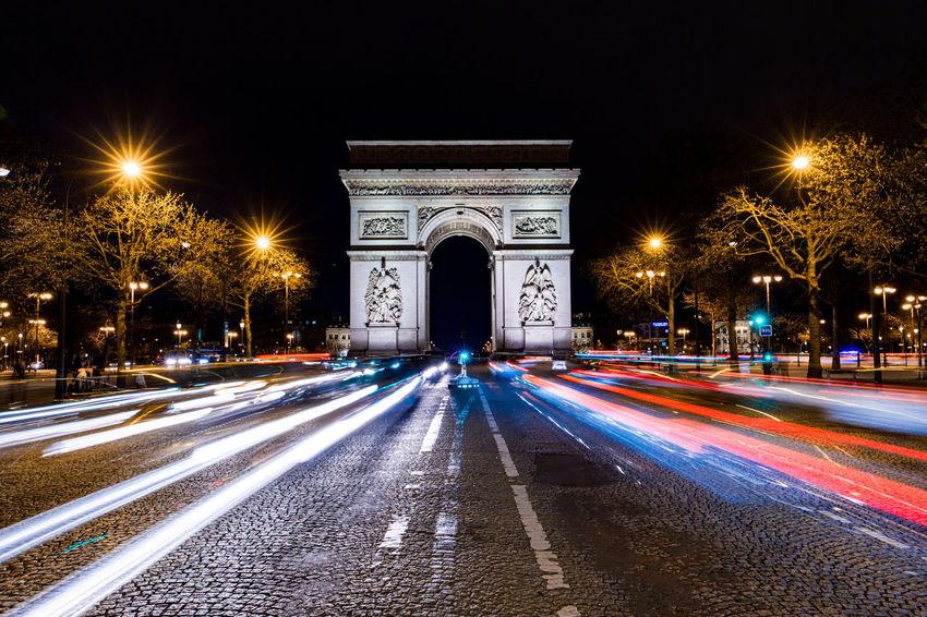 Arc De Triomphe France Illuminated Light Trail Long Exposure Night Partisan Road Speed Street Light Street Scene Timelapse Transportation Tri Colour