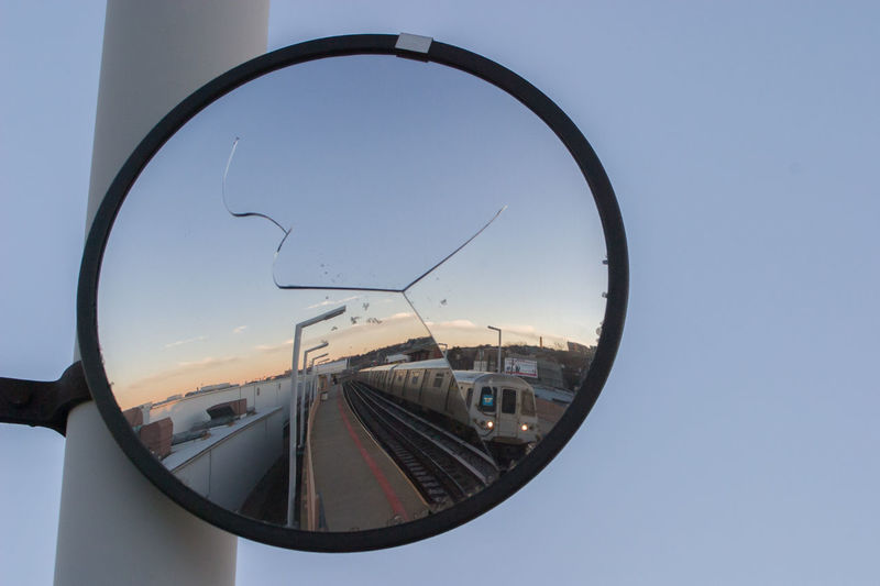 Subway train on Staten Island America Americana Cracked Mirror New York New York City NYC Rail Railway Staten Island Subway Train Transportation USA
