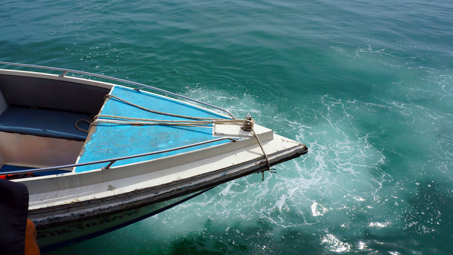 High angle view of fishing boat in sea