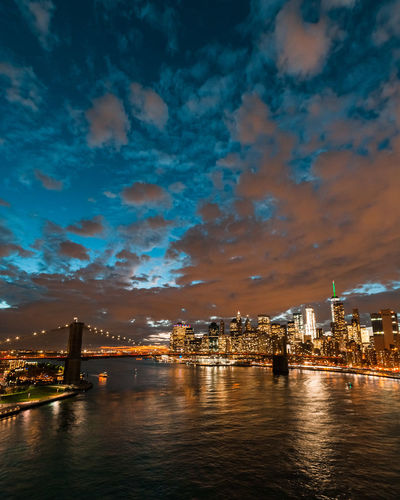 Illuminated bridge over river in city against cloudy sky during sunset