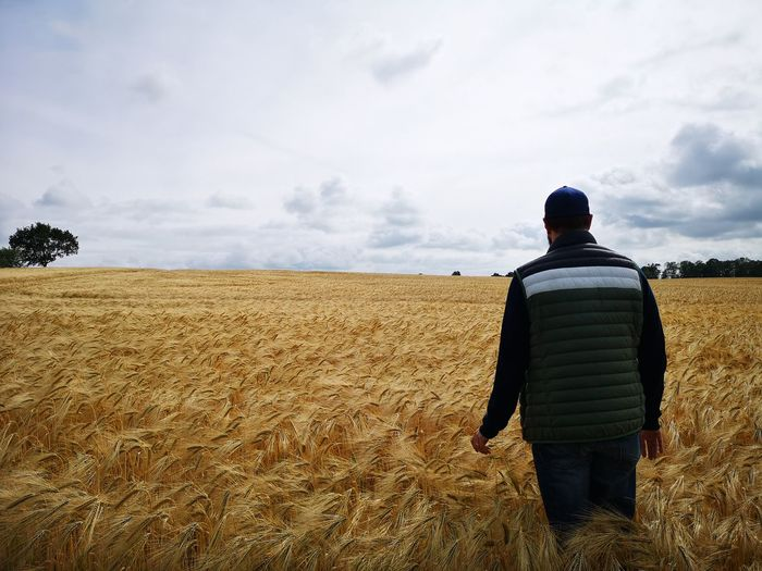 Rear view of man standing on agricultural landscape against sky