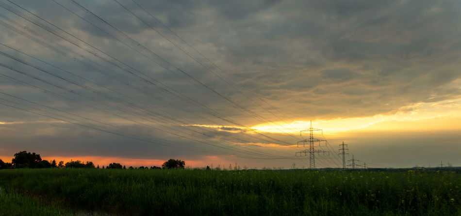Beauty In Nature Cable Cloud - Sky Electricity  Electricity Pylon Environment Field Fuel And Power Generation Land Landscape No People Outdoors Plant Power Line  Power Supply Scenics - Nature Sky Sunset Technology Tranquil Scene Tranquility