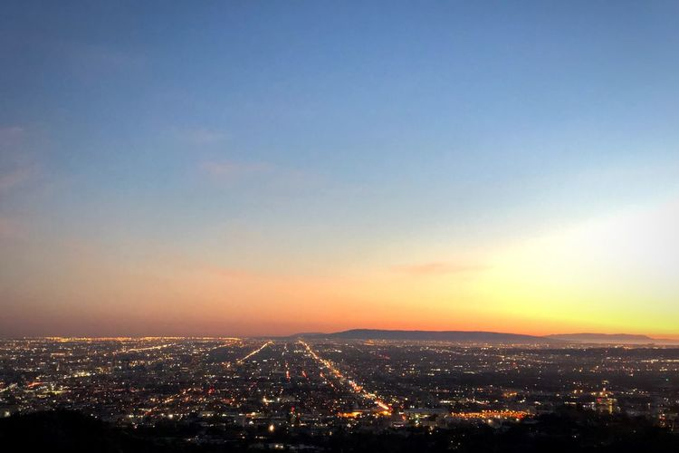 LA Grififth Observatory La Chilling Travel Picture USA Sky City Architecture Building Exterior Sunset Cityscape Built Structure Nature No People Illuminated Beauty In Nature Orange Color High Angle View Outdoors