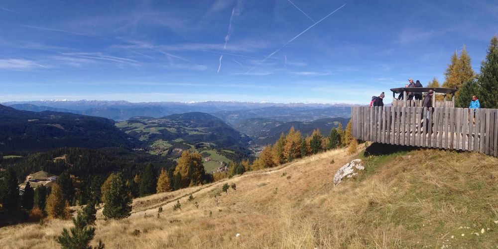 280/365 October 7 2017 One Year Project Latemar Dolomites Alps Latemar Trentino Alto Adige Alto Adige Italy South Tyrol Trekking Trekker Autumn Panorama Panoramic View Sky Landscape Nature Beauty In Nature Outdoors Scenics Tranquility Mountain Day Tree No People Lost In The Landscape Connected By Travel