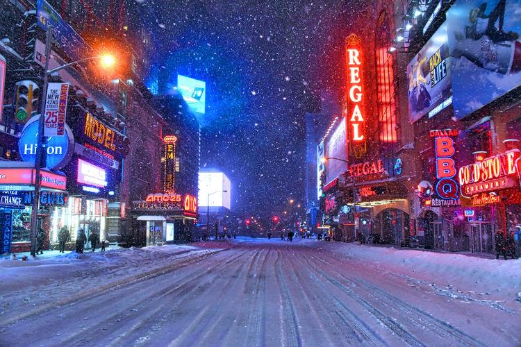 42nd Street 42nd Street, NYC City Life City Street Illuminated Neon Neon Color Neon Light Neonlights New York City Night NYC NYC Street Snow Snow ❄ Snowing Snowstorm Snowstorm2016 Snowstormjonas Street Street Light Winter Winter Wonderland Wintertime Winterwonderland