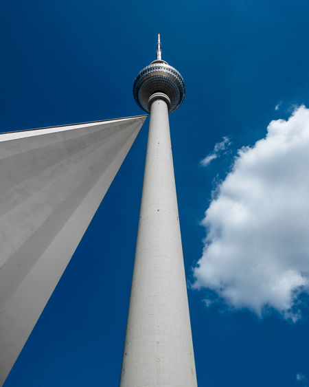 Cloudy Sky Low Angle View No People Outdoors Blue Day Minimalism Minimalist Photography  Fujix_berlin Ralfpollack_fotografie Architecture Tall - High Tower Building Exterior City Built Structure Travel Travel Destinations Sphere Broadcasting Skyscraper Global Communications Fernsehturm Berlin  Clouds And Sky