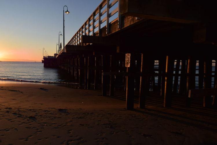 California Coast Pier Beachboardwalk Santa Cruz Santa Cruz Pier Sunrise