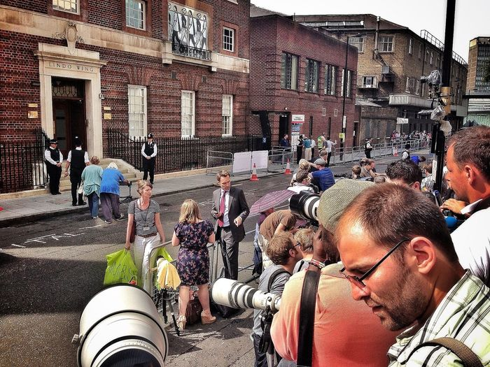 Getting ready to get the first shots RoyalBabyWatch Press Cameras