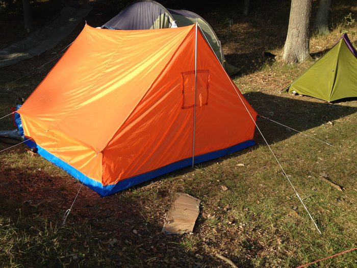 View of tent on field