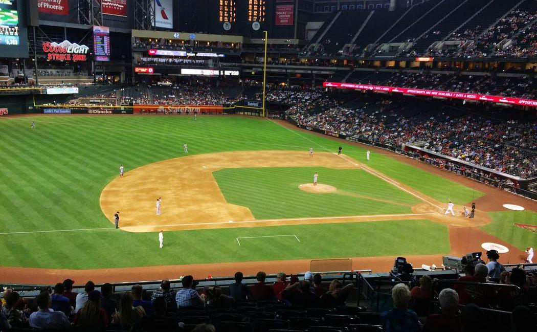 Paul Golschmidt batting against the Nationals. PaulGoldschmidt Chasefield Baseball WashingtonNationals DiamondBacks Arizona