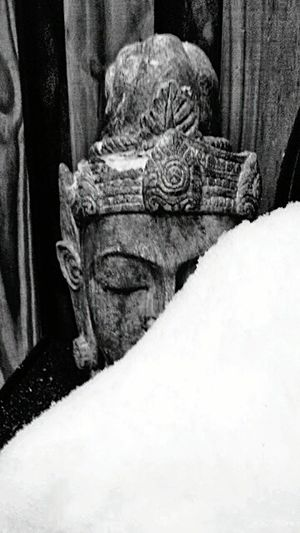 Snow Buddha. Asian Culture Outofocus Buddha Buddha Head Snow Buddha Snow Deck Patio Asian