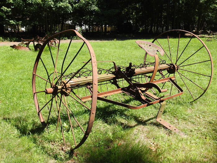 Old School Technology Yard Art Day Farm Equipment Grass Growth Nature Old Farm Equipment Old Farm Machinery Old Plow Old Plowing Machine Outdoors Rusty Farm Equipment Rusty Gold Rusty Metal Rusty Plow Rusty Things Tree Wheels Yard Art Day