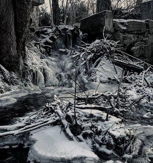 Zima Wodospad Mojawola Fotografia Zabawa