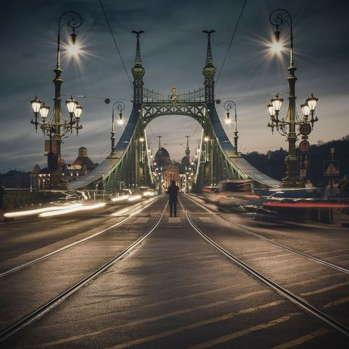 InTheMiddle Street Photography Streetphotography Cityscape Architecture Bridge Longexpo Longexposure Tamasschober Magyarország Hungary Budapest Connection Suspension Bridge Built Structure Travel Destinations City Road Street Light Motion The Creative - 2018 EyeEm Awards