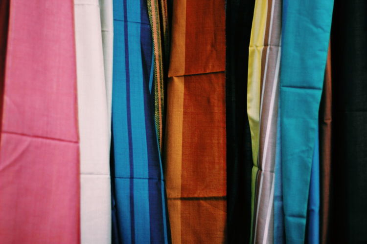 Full frame shot of textile for sale in market
