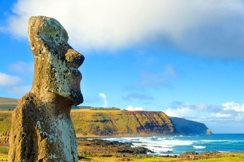 Closeup of large Moai at Ahu Tongariki on Easter Island, Chile Ahu Tongariki Ahu Tongariki - Rapa Nui America Archeology Beach Chile Easter Heritage Indigenous  Island Landscape Moai National Park Nature Ocean Pacific Polynesia Rapa Nui Rapanui  Sculpture South Statue Stone Tongariki World