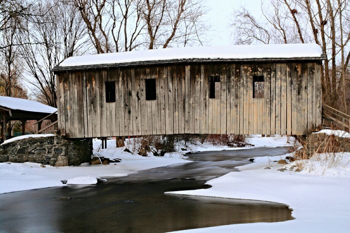 Covered Bridge Nature Landscape Nikon D7100 Creek Pennsylvania Pennsylvania Beauty Waterscape Winter Snow