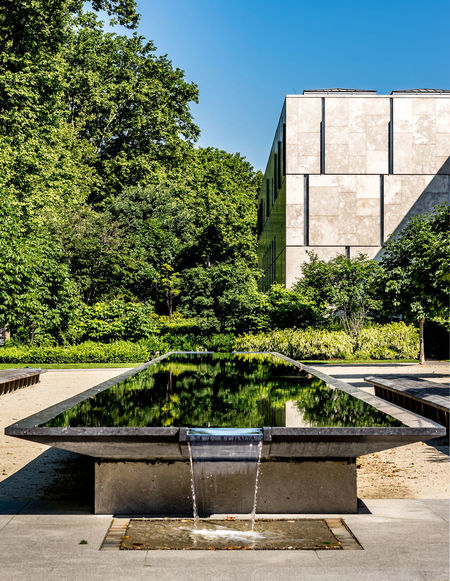 A Dynamic photo with brilliant color. This photo was taken at the Barnes foundation in philadelphia, pennsylvania. 215 Philly Architecture Building Exterior Built Structure Clear Sky Day EyeEm Gallery Foliage Green Color Growth Howard Roberts Nature No People Outdoors Pennsylvania Philadelphia Plant Reflections Sky Sunlight Sunny Day The Barnes Foundation. Tree Water Water Reflections