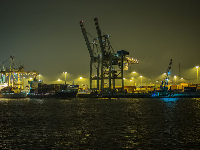 Hamburg Riverside Cranes Cranespotting Elbe River Harbourfront River Collection River View Riverside Elbe Illuminated Nature Nautical Vessel Night Night View No People Outdoors River Sky Transportation Water Waterfront