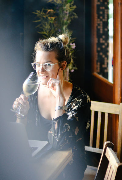 Afterwork Casual Happiness Bar Beautiful Woman Business Person Businessman Businesswoman Drink Drinking Food And Drink Glass Joy Lifestyles One Person Portrait Real People Refreshment Sitting Smiling Table Trendy Wine Women Young Women