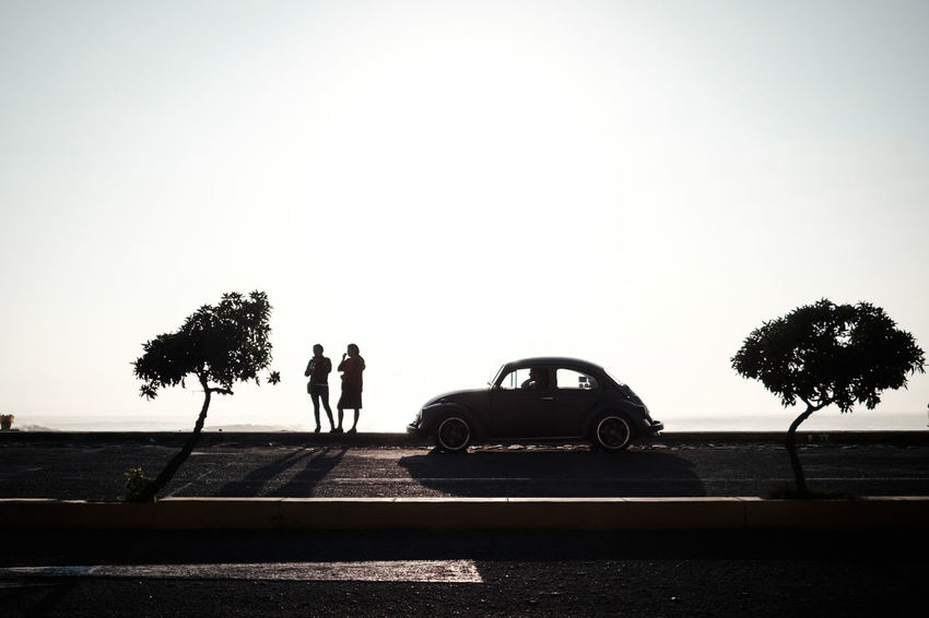 Iconic Adult Car Clear Sky Day Men Nature Outdoors People Real People Silhouette Standing Togetherness Transportation Tree Two People Volkswagen Volkswagen Beetle VW Beetle Young Adult