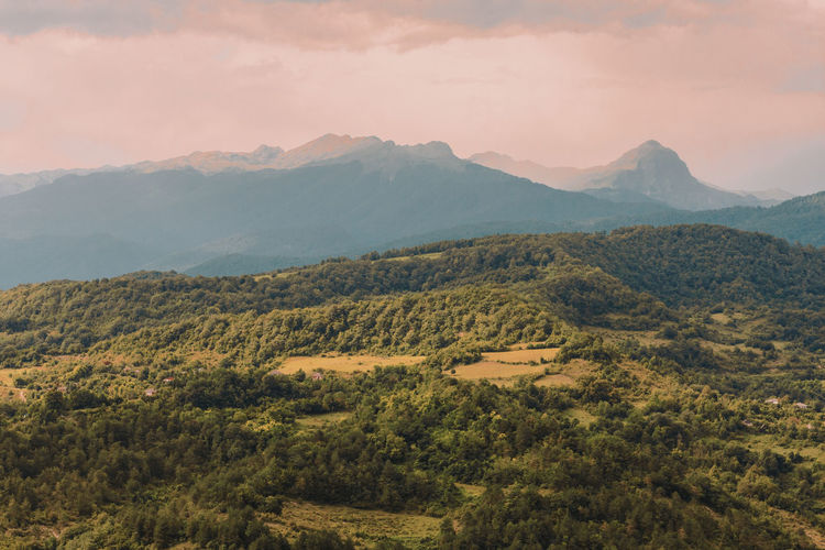 Far far away in the Caucasus... Landscape Mountain Beauty Forest Nature Outdoors Growth Beauty In Nature No People Scenics Sky Day Birds Eye View Miles Away Millennial Pink The Great Outdoors - 2017 EyeEm Awards