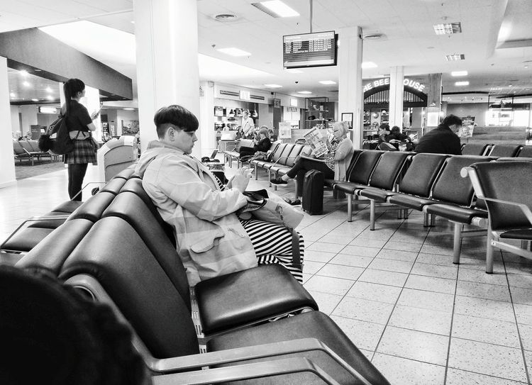 Original Experiences Lounge Phones Feel The Journey Waiting Airport Static Connect Read Benches Time Travel Phone Photography Newspaper Consumer Customer  Fine Art Photography On The Way