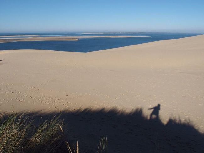 Nature Beauty In Nature Sand Scenics Sea Horizon Over Water Beach Sand Dune Sky Nice Day Dune Du Pyla Dunedupilat Dunescape Dunes Ombre & Lumière Shadows & Lights Shadowplay Clear Sky