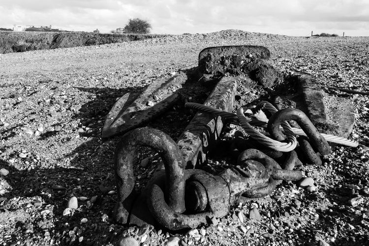 Anchor Black And White Day Nature Old Outdoors Pebbles Rust