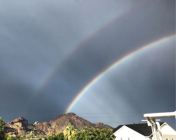 Double the beauty Rainbow Double Rainbow Beauty In Nature Scenics Nature Weather Multi Colored Outdoors Cloud - Sky No People Tranquility Day Built Structure Curve Tranquil Scene Sky Landscape Building Exterior Mountain Architecture Monsoon2017 Phoenix, AZ