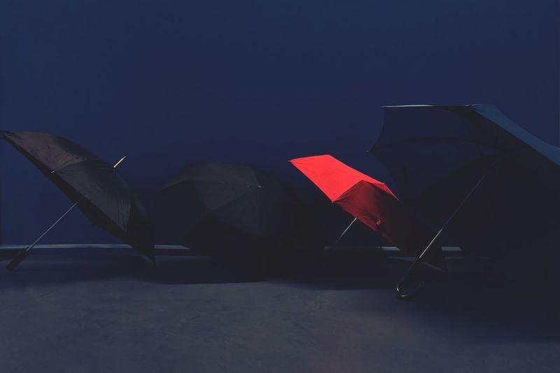 Umbrellas Indoors  Blue Umbrella Wall Red Rain