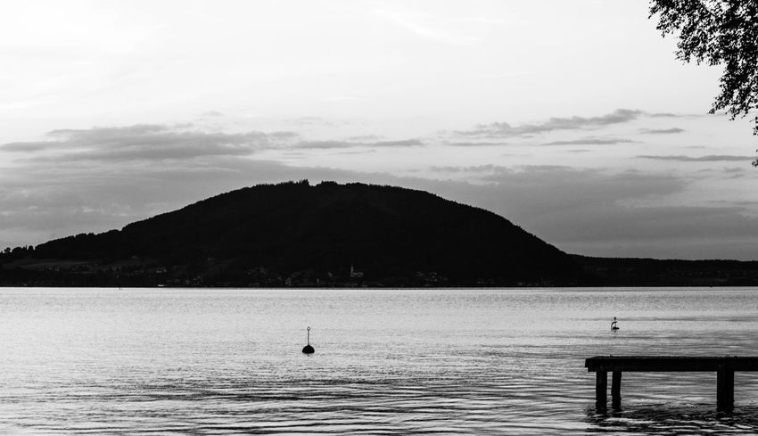 Attersee Austria Beauty In Nature Black And White Blackandwhite Clouds Dusk Lake Lakeside Mountain Nature No People Outdoors Sky Sunset Tranquil Scene Tranquility Tree Water