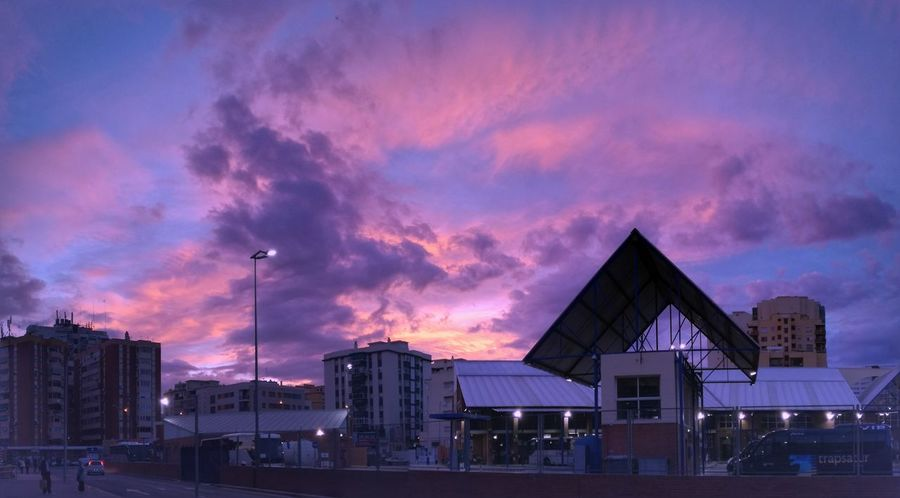 Málaga Bus Station in the sunset sky, Spain Busstation Sun Sunset Sky And Clouds Sky Illuminated Outdoors Architecture Cloud - Sky Colors Colorful Photo Colorful Sunset Colorful Clouds Colorful View Colorful Sky Spain🇪🇸 Málaga,España The Week On EyeEm Your Ticket To Europe
