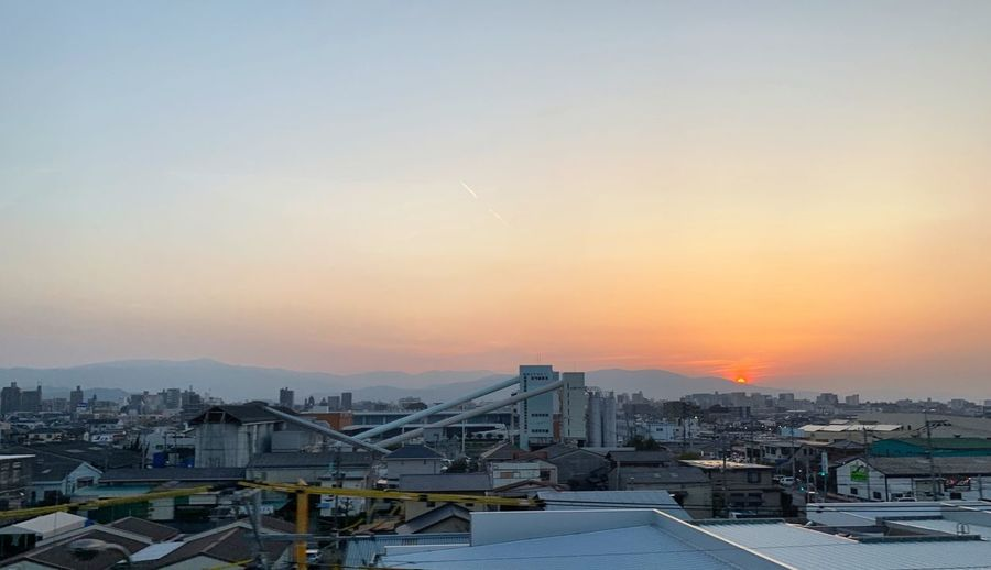 Japan Sky Sunset Architecture Built Structure Building Exterior City Cityscape Industry Connection High Angle View Outdoors Copy Space Machinery Nature Bridge Crane - Construction Machinery No People Orange Color Building City Life