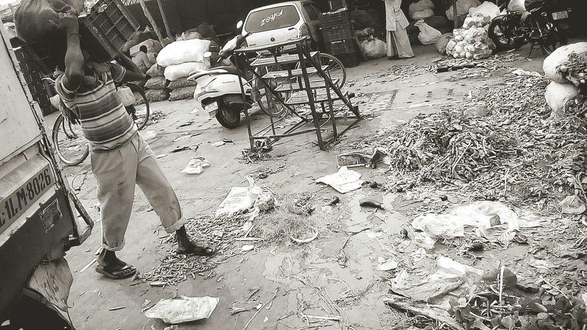 Veg. Market backyard Black & White Labour Market Backyard India Messy Life