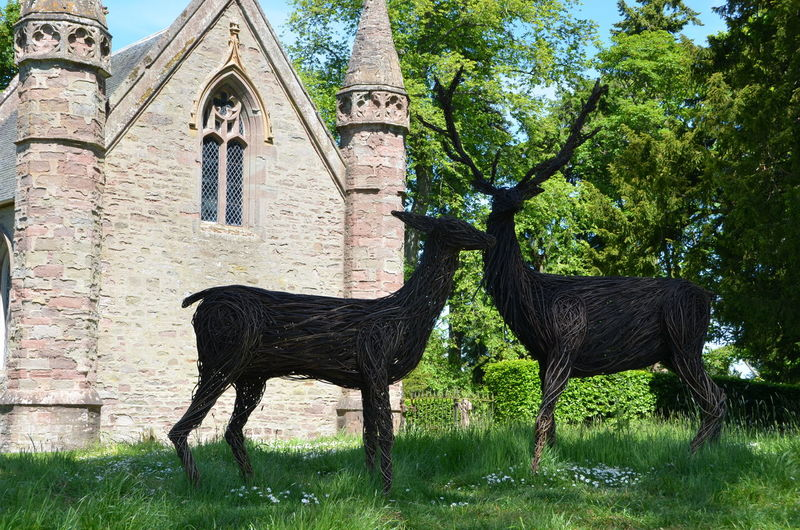 Scone Palace with wicker deer Animal Themes Architecture Church Deer Field Grass Mammal Nature No People Outdoors Plant Scone Palance Scotland Stag Tree Wicker