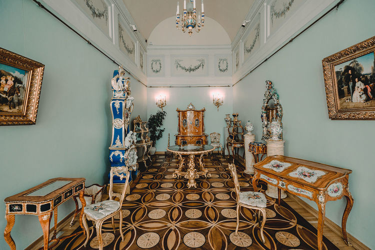 Absence Architecture Art And Craft Belief Building Built Structure Ceiling Chair Furniture Indoors  Lighting Equipment Mural No People Ornate Place Of Worship Religion Seat Spirituality Table Tiled Floor