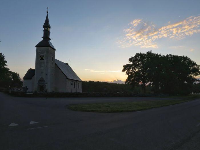Morning Morning Sky Morning Light Church Landscape Commuting Cycling