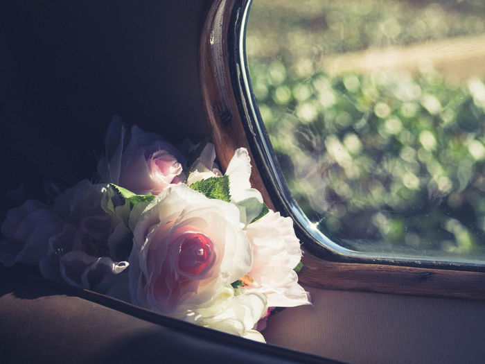 Close-Up Of Rose Bouquet In Car