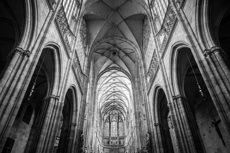 Low Angle View Of Gothic Church Ceiling
