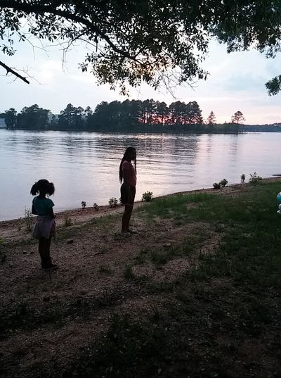 My little sister and I was stand, and when we watch at sunshine until sunset. Sunset