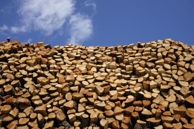 Low Angle View Of Stacked Logs Against Blue Sky