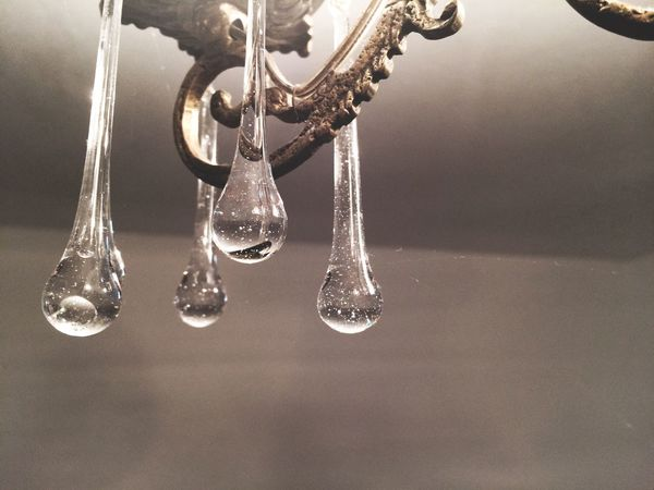 Hanging Close-up No People Indoors  Illuminated Crystal Glassware Transparent Drops Light Old Vintage