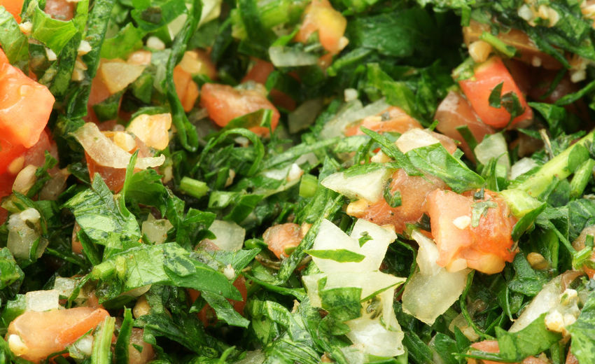 Tabouleh salad close up Arabic Arabic Food Close-up Detail Directly Above Food Food And Drink Freshness Healthy Eating Healthy Lifestyle Indoors  Lebanese Mint No People Organic S Salad Still Life Tabouleh Taboulé Vegetable