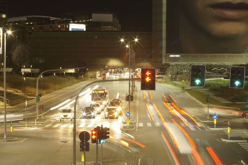 City Illuminated Road Road Signal Street Light High Street Road Marking Traffic Traffic Light  Red Light Road Sign Vehicle Light Empty Road Traffic Signal Light Trail Stoplight Double Yellow Line Signal Green Light Road Intersection Vehicle Gas Light Zebra Crossing Elevated Road Tail Light