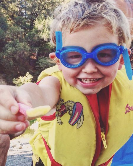 Day At The River Gummie Worms Goggles Big Fat Smile Happy Boy Little Moments Outdoors Riverside