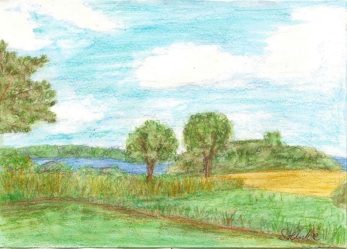 Ulsnis an der Schlei Aquarell Kunst Art Schleswig-Holstein Schlei River Landscape