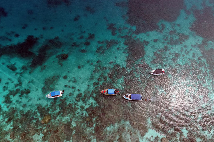 High angle view  of people and boat on beach using drone