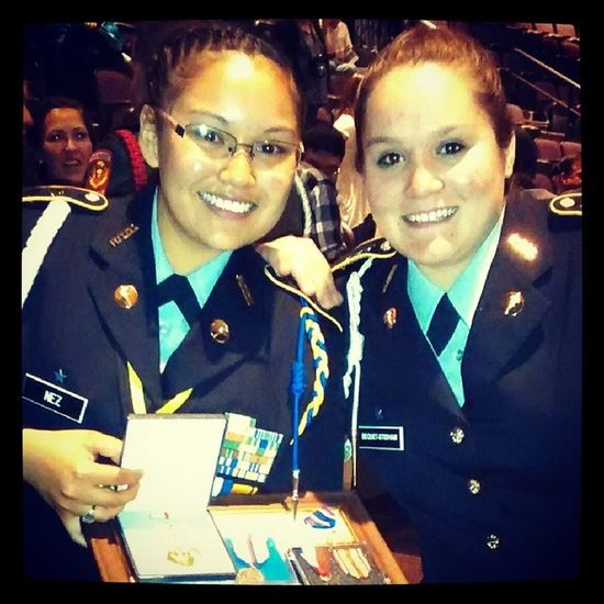 Army friends. Love her see you when I go to basic. Jrotcawardcermony Cpt Lt .col.