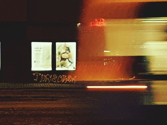 Gothenburg at night.. No People Illuminated Text Night GraffitiCrew Gothenburg, Sweden Indoors  Architecture Tag Streetart/graffiti Moving On Tram Citylife Citylight Citynightlife Citynight Speed Onthemove